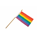 Rainbow 10 x 15 cm. Stick Flag