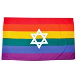 Rainbow flag with star 92 x 152 cm